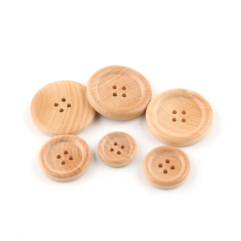 4 Holes Custom Engraved Shirt Fashion Wooden Wood Button For Clothes