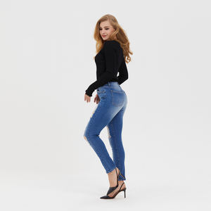 ESEY High waist Skinny Jeans High Stretch Pants Women Front Ripped Details