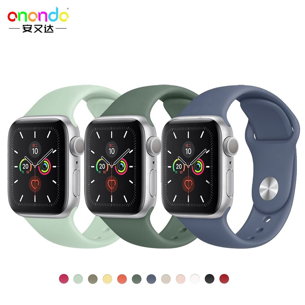 Silicone strap For Apple Watch band 44 mm/40mm iwatch Band 38mm 42mm Sport bracelet Rubber watchband for apple watch 5 4 3