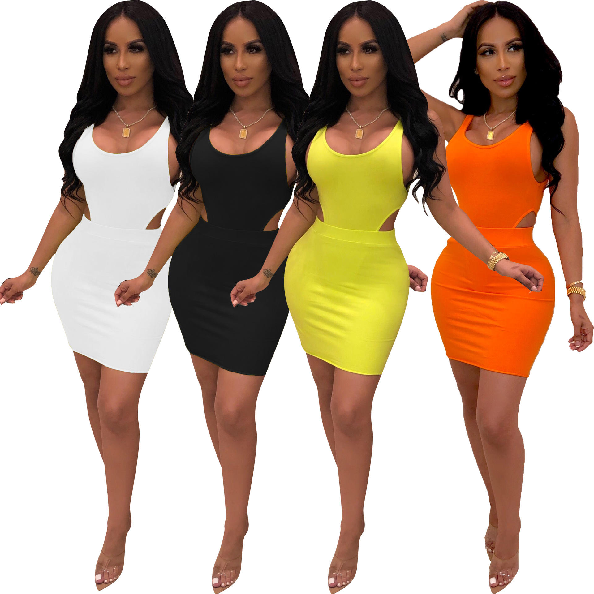 2020 Wholesale ladies clothing summer 2 pieces dress sexy women sleeveless hollow out neon bodycon mini dress