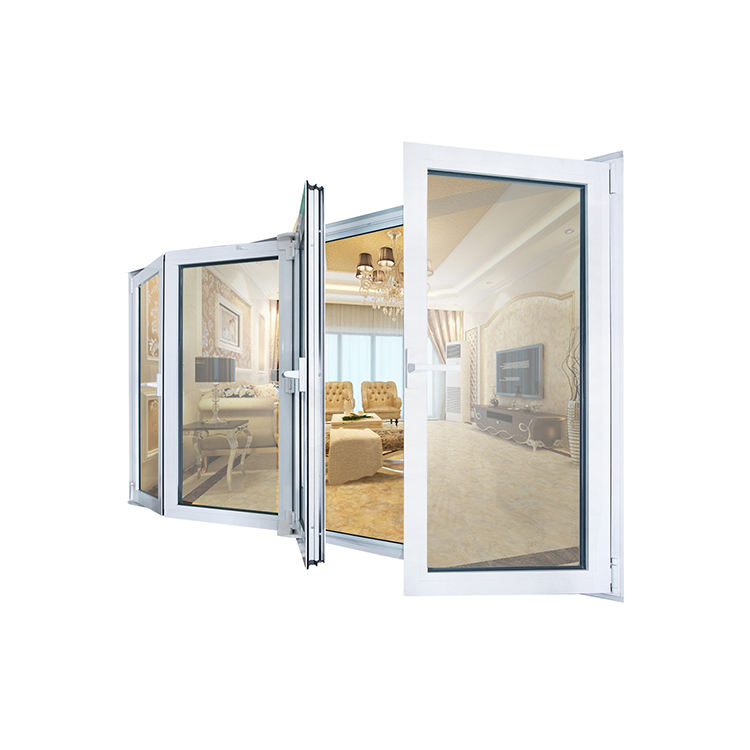 5 Years Warranty [ Window Glasses ] Aluminum Frame Bi Fold Sliding Window With Double Glasses