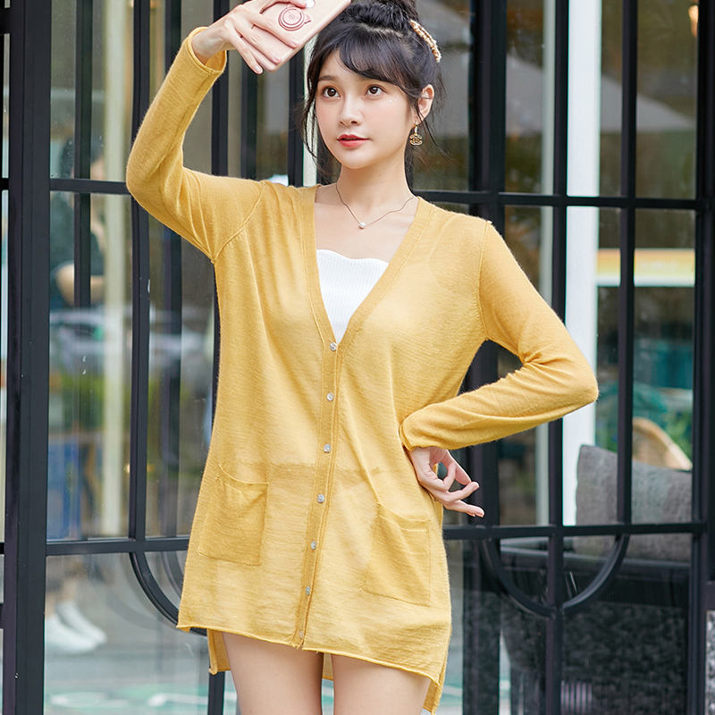 2019 Hot Sale Cheap Classic Fashion Deep V Neck Light Fabric Sweater Cardigan For Women
