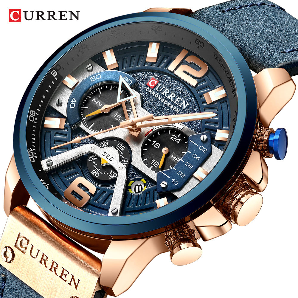 CURREN 8329 Top Brand Watches Male Clock Sport Military Leather Strap Chronograph Watches Men Wrist