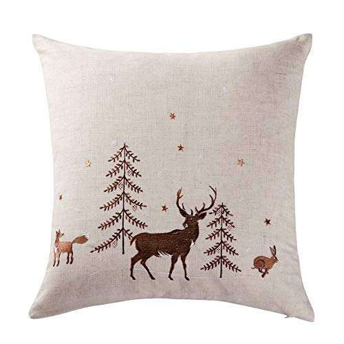 Light LED Christmas Cushion with Embroidered Pillow Cover decorative