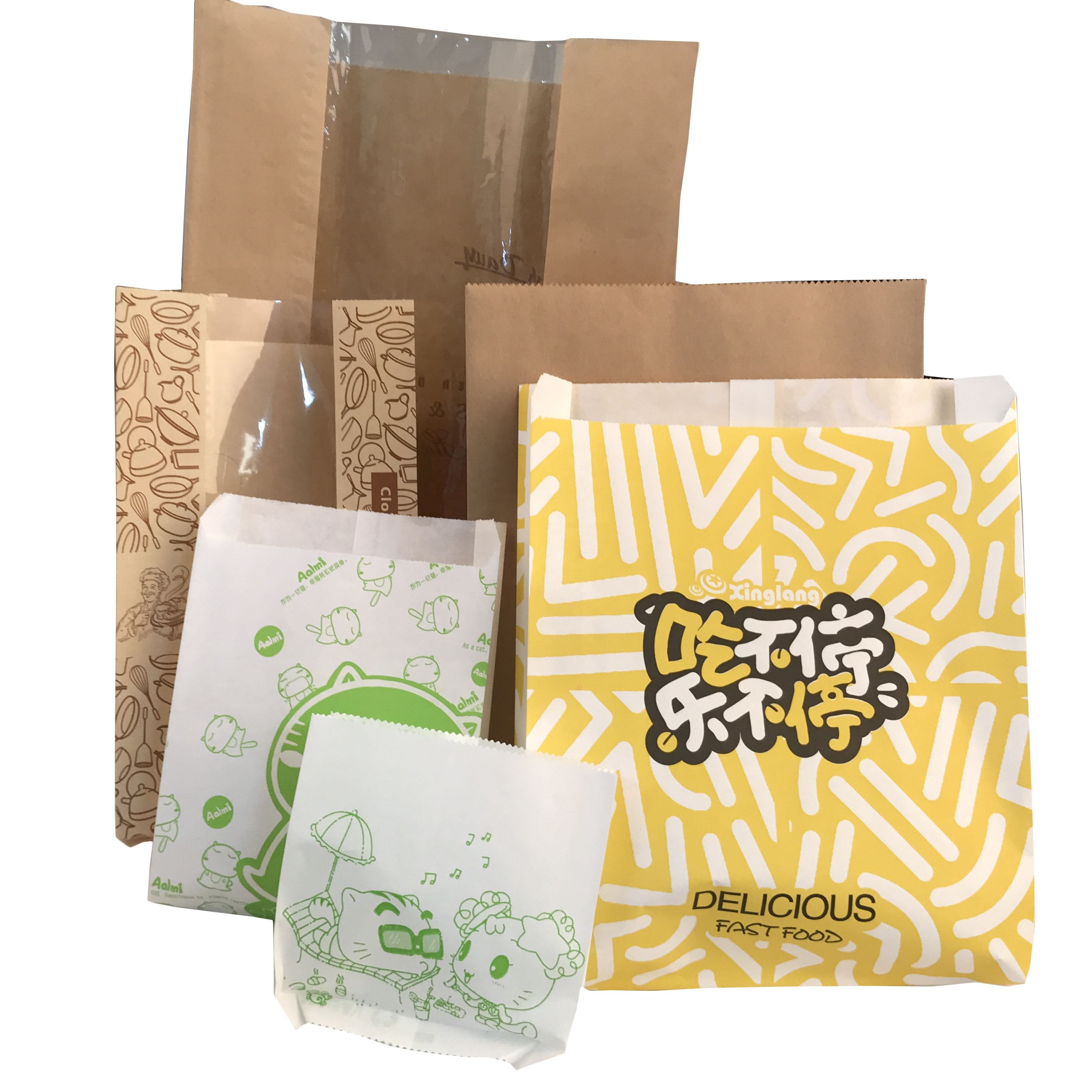 Customized printed food grade packaging wholesale Plain cheap food paper bags
