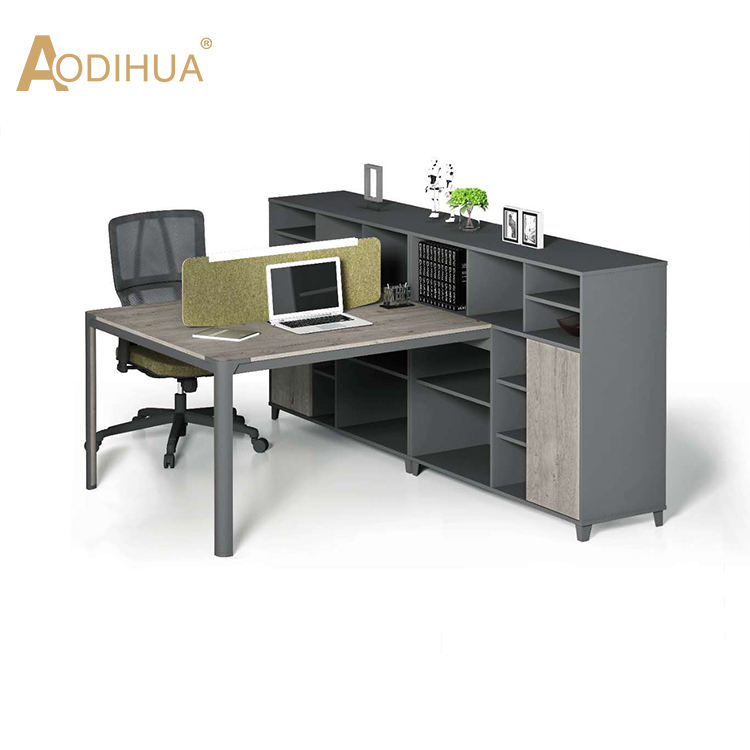 2 Person modular office partition workstation office furniture design with side cabinet