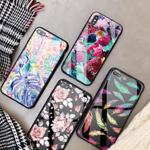 Luxury super Tempered Glass Phone Case For iPhone XS Max XR case Flower Customized DIY Back Cover For iPhone 8Plus X 7 Coque
