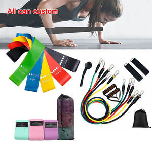 Custom Logo Fitness Workout Resistance Bands Anti Slip / Hip Elastic Exercise Resistance Bands Set