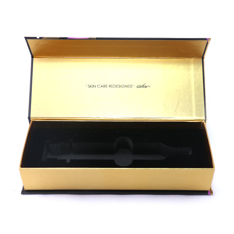 Custom logo printed luxury cosmetic glass syringe packaging box