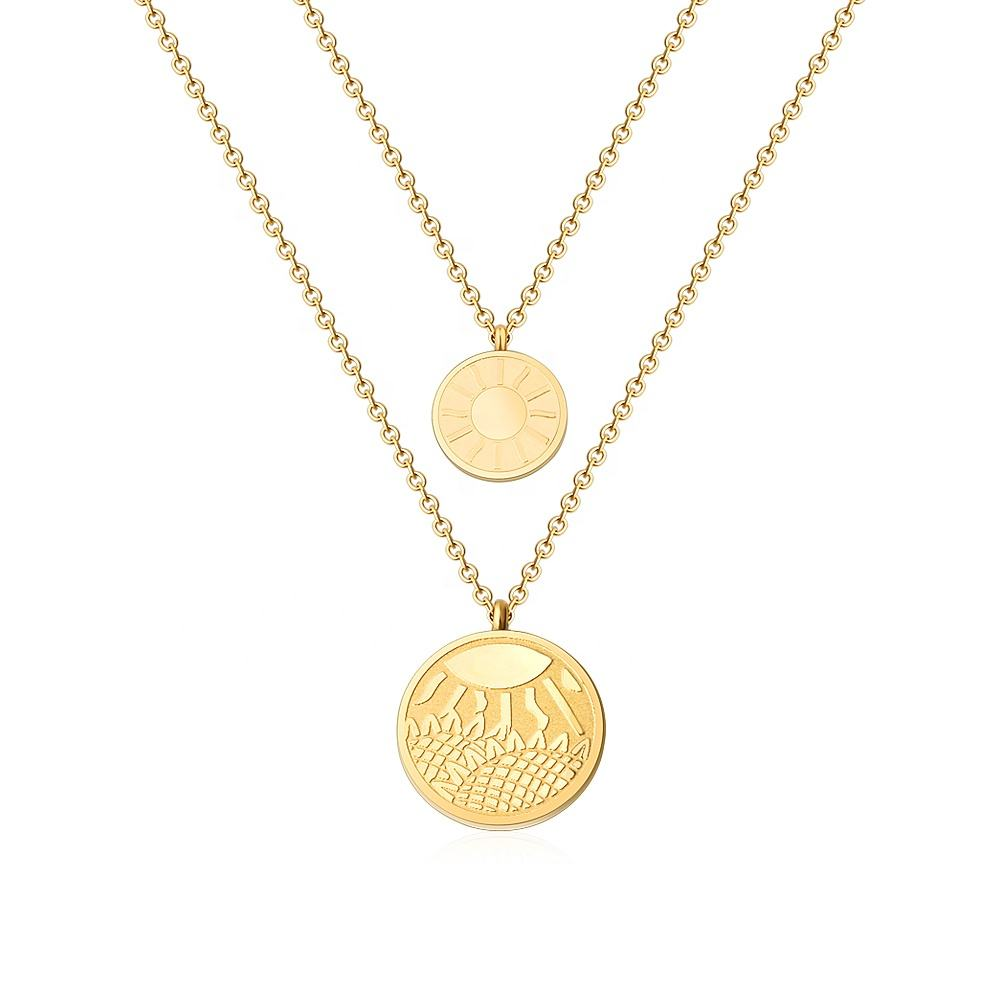 Double layered Sun Sunflower Pattern Engrave Custom Design Coin Pendant Necklace Jewels