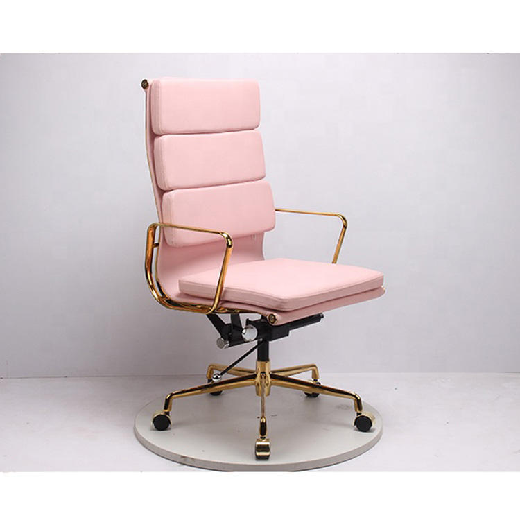 Luxury design pink office leather chair with golden aluminum frame