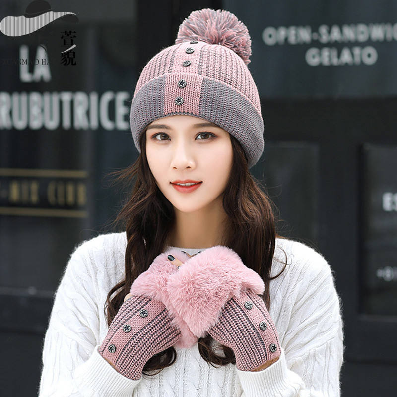 2Pcs Winter Thicken Women Gloves Fur Ball Pom pom Head Neck Warmer Knitted Hats Caps Set Beanie Scarf Sets Knit Hat Cap Beanies