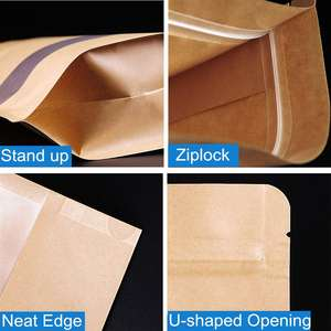 Flexible Brown Kraft Paper Stand Up Pouch With Zipper For Food Rice Packaging Ziplock bag