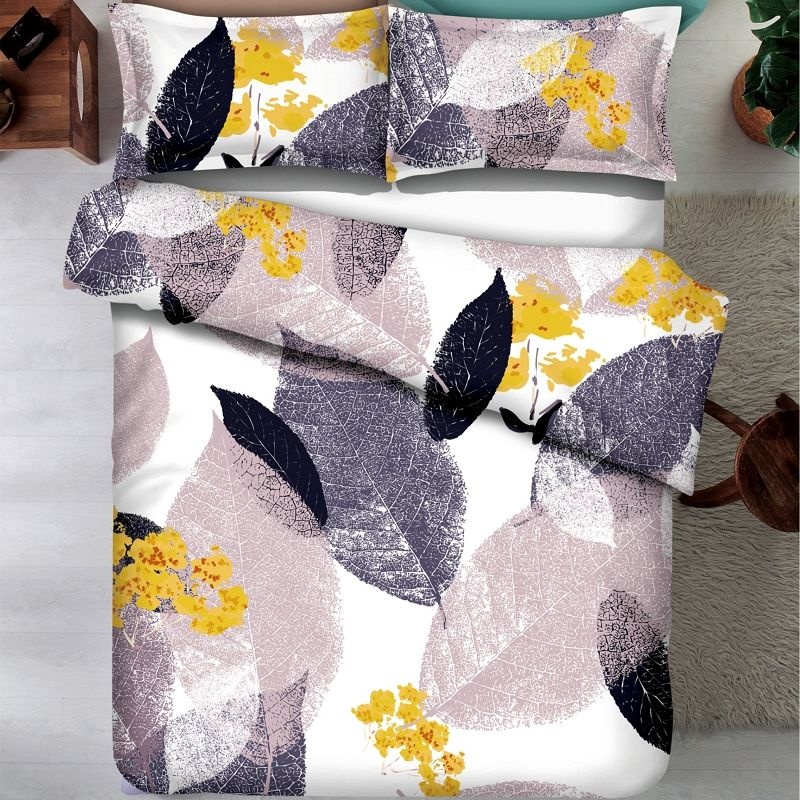 Colorful printed brushed microfiber 1800 duvet bed sheet bedding set with comforter