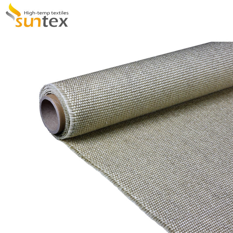 Welding Protection Vermiculite Coated 1200c Fire Retardant Fiberglass Fabric For High Temperature