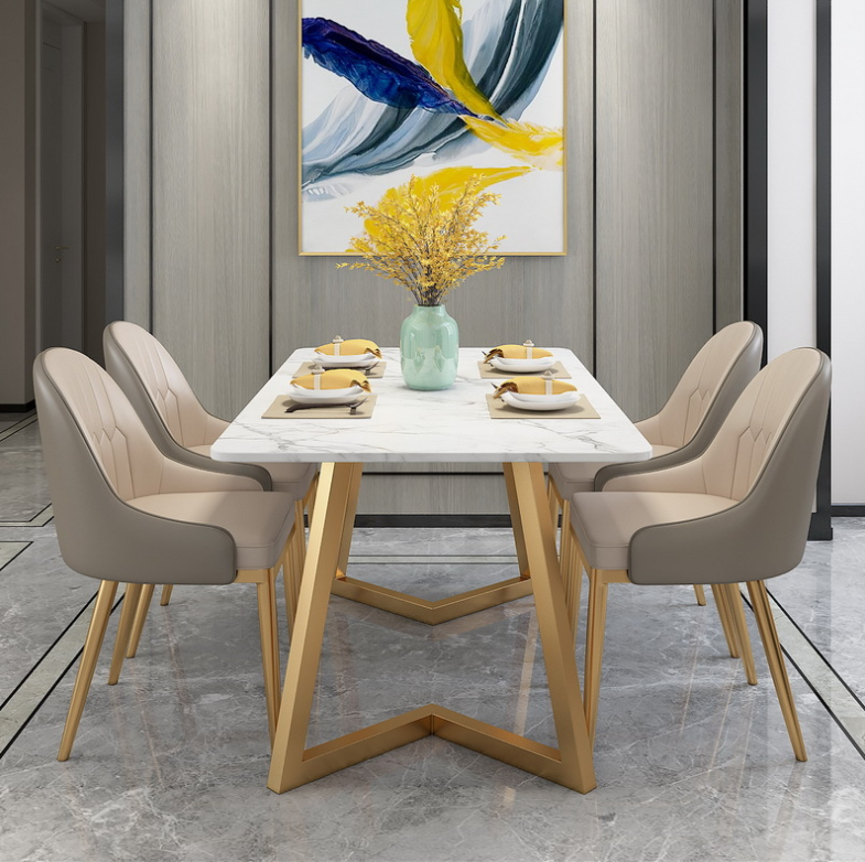 Nordic light luxury marble dining table household small apartment dining table for 4 people hotel iron dining table and chair