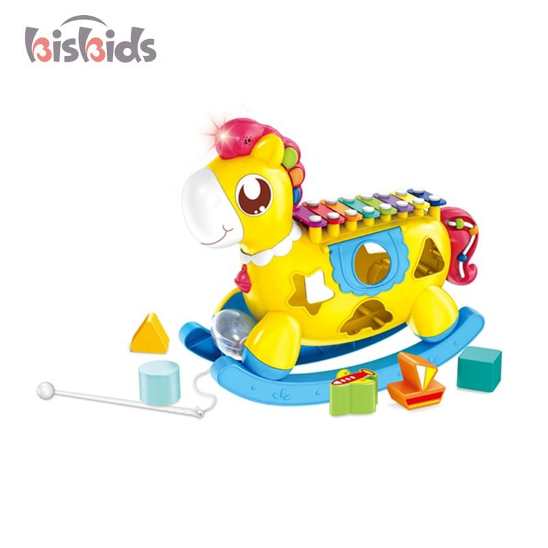 Baby wooden hobbyhorse educational building blocks musical instrument cartoon music toy piano