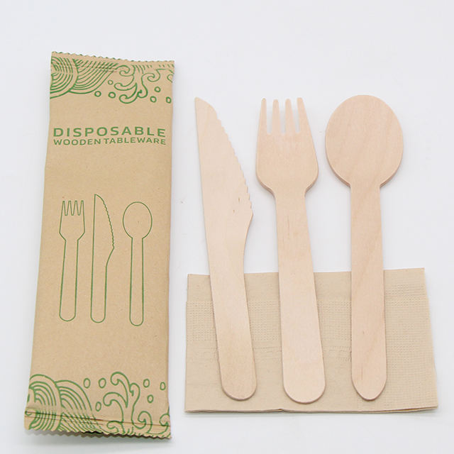 Factory wholesale export disposable tableware wooden cutlery sets knife fork spoon pizza cutlery 160MM