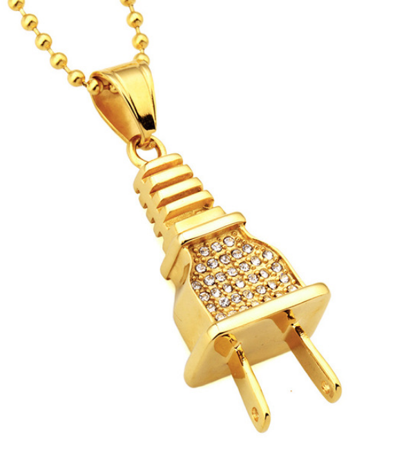 Micro pave iced out diamant Unieke opladen plug lading connector Rvs ketting cubaanse bal chian hanger Charms
