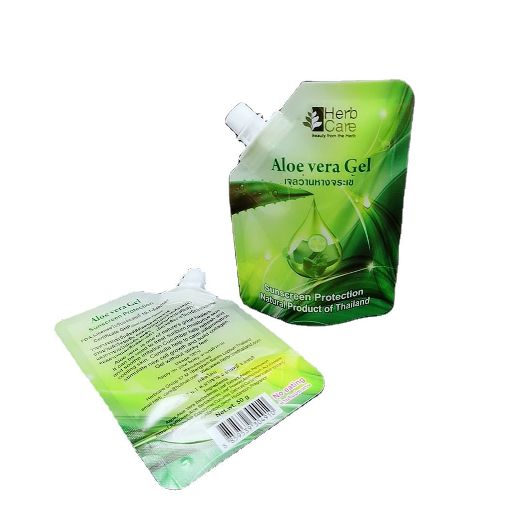 Manufacture high quality laminate moisture proof stand up pouch with spout plastic bags for facial mask packaging