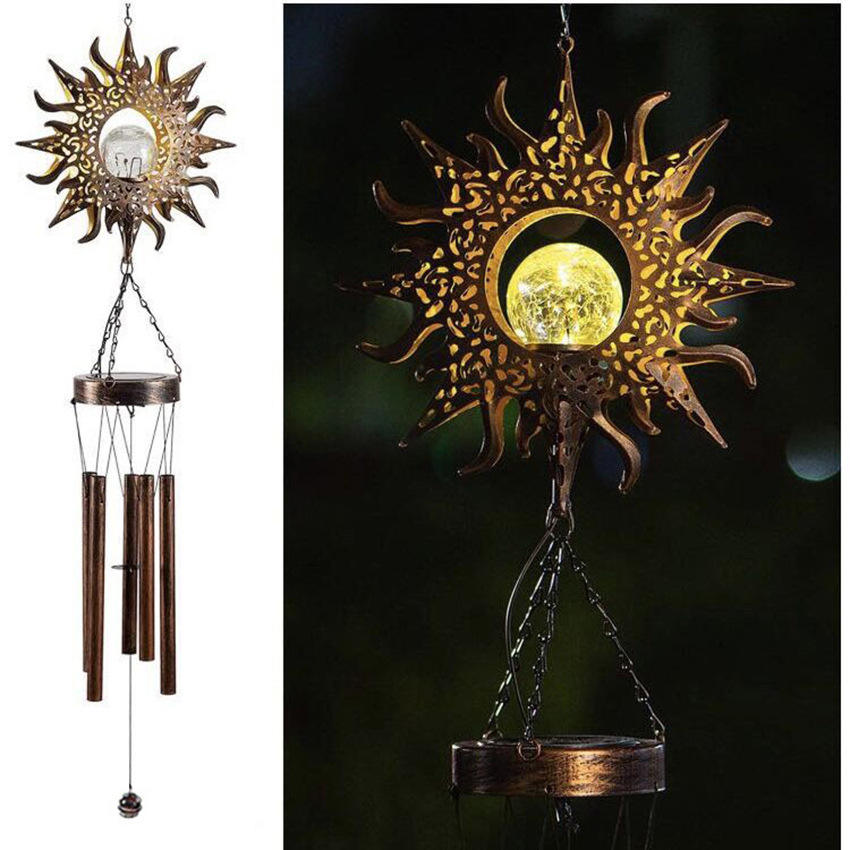 Großhandel Home Solar Hollow Metal Moon Crack Ball Windspiele Garten Outdoor Dekorative Schöne Metall Windspiele