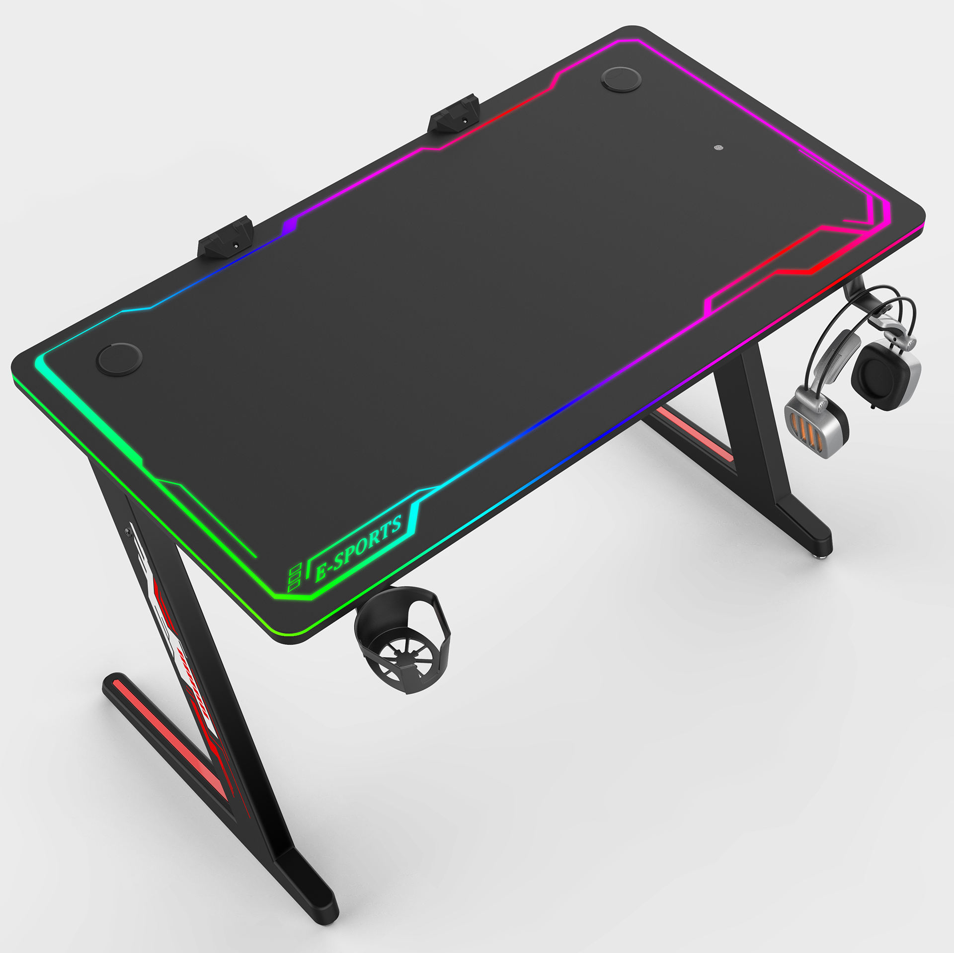 PC style game desk with touching swift RGB light racing gaming table