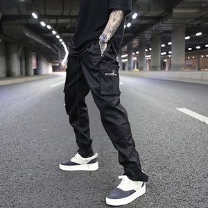 Multi zipper pockets straight stretch waist pants usa street solid color jogger pants men casual cargo pants stock dropshipping