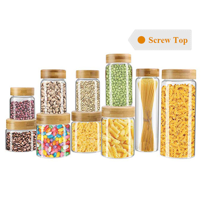 Wholesale Fancy Custom Borosilicate Glass Food Storage Kitchen Jars with Screw Top Wood Lid