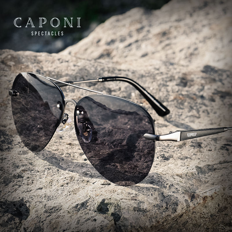 CAPONI New Arrival Classic Photochromic Polarized lens Alloy Half Frame Color Changing Sunglasses UV400
