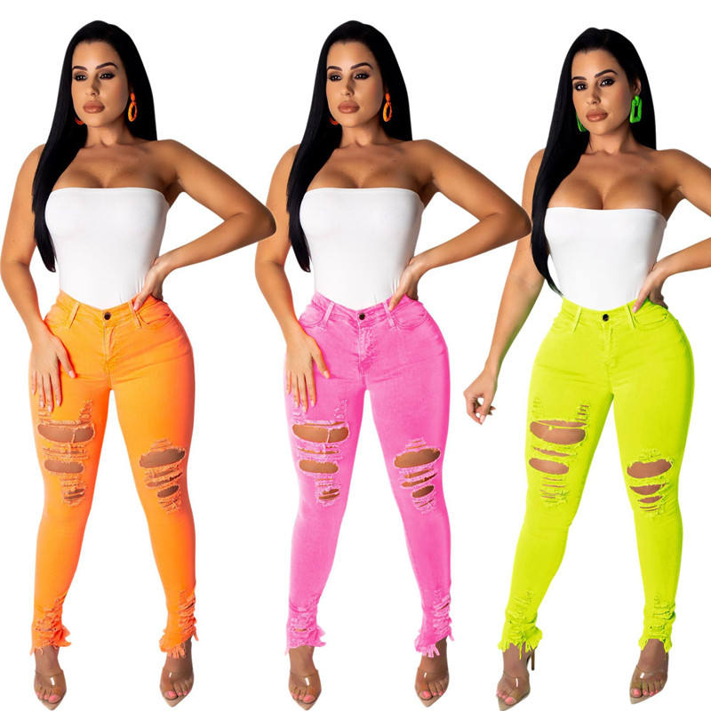 BH10 designer brands wholesale women high waist ripped denim pants trousers sexy stretch distressed legging colored skinny jean