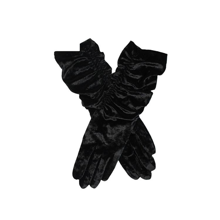 Long Black Ladies Crushed Velvet Stretch Glove
