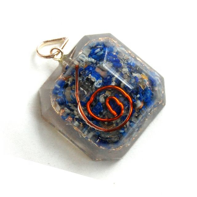 Orgone Faceted Lapis Lazuli Square Pendant : Lapis Lazuli from Afghanistan with Orgone Energy Pendant