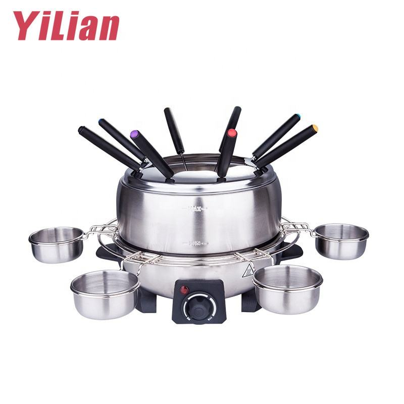China commercial electric brushed stainless stainless steel pot fondue maker round raclette appareil chocolate fondue grill set