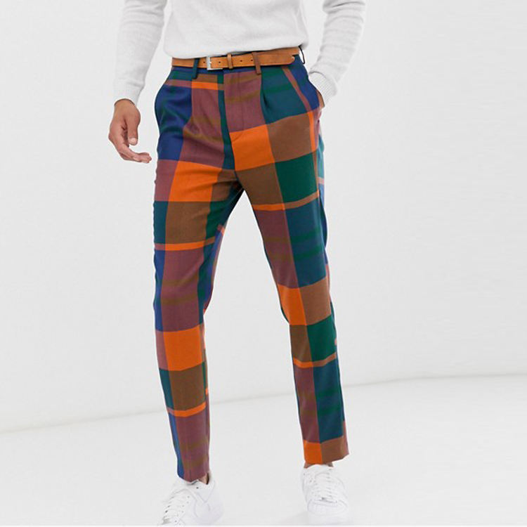 Skinny Casual Slim Fit Trousers Irregular Lattice Plaid Pants Custom Casual Mens Chino Pants