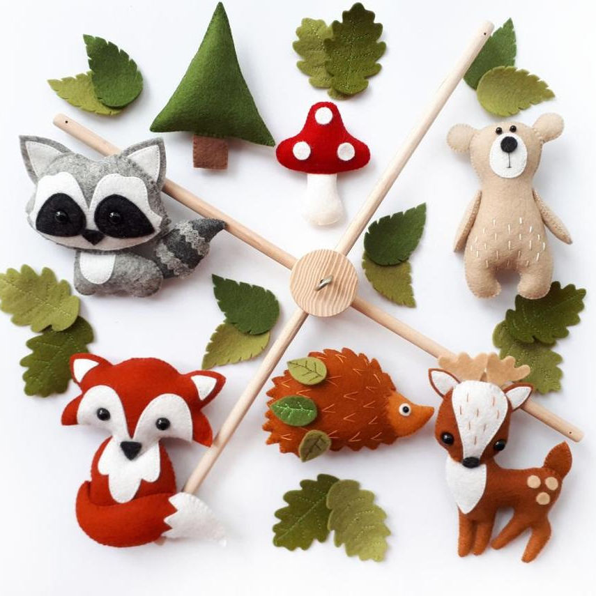 Woodland Forest Animals Felt Baby Mobile Wooden Baby Crib Mobile Cot Mobile Felt Mobile Toy Handmade Baby Shower Gift