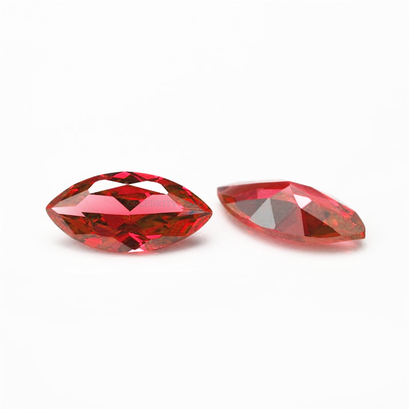 Rose red CZ loose gemstone marquise cut cubic zirconia stone