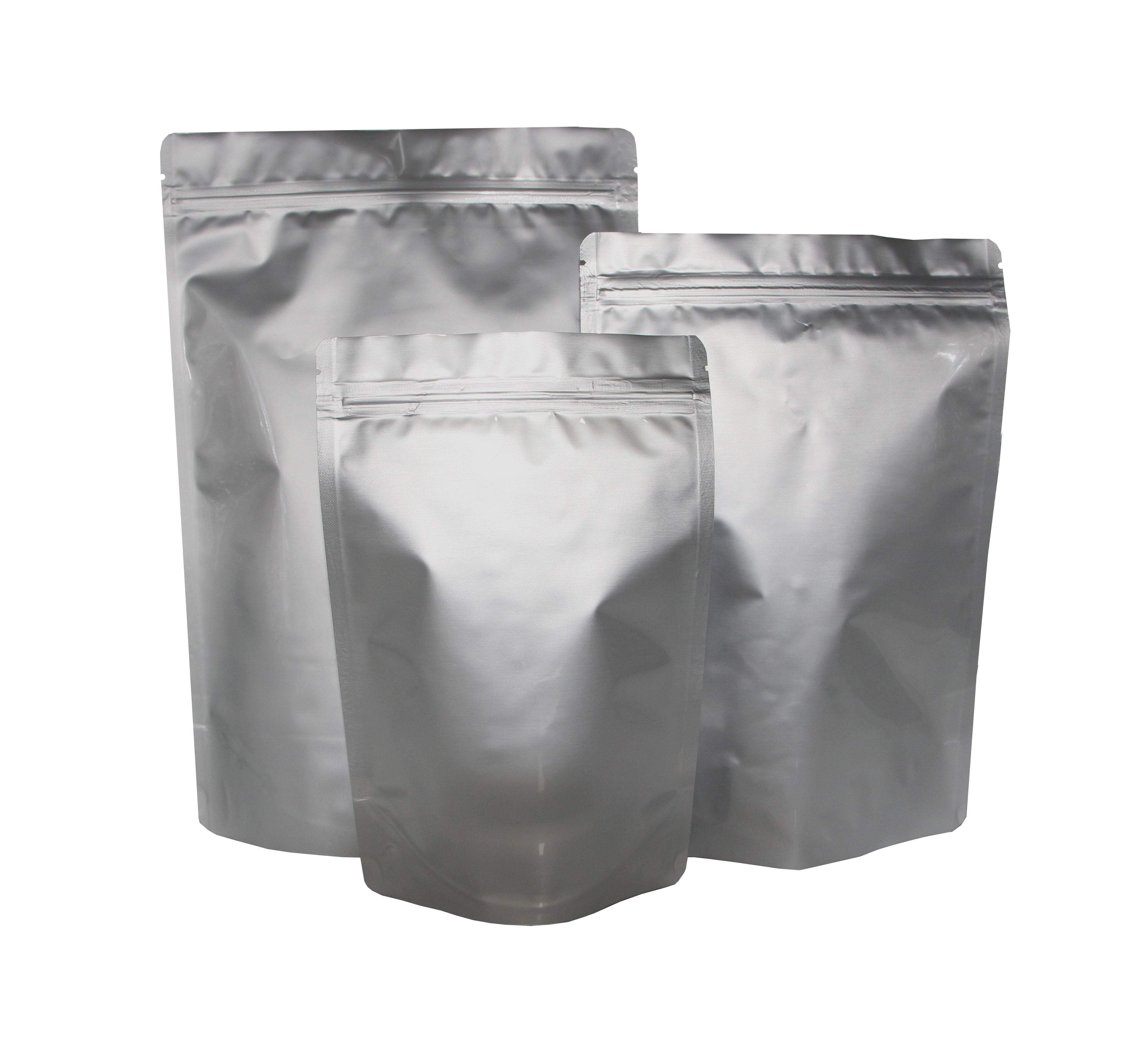 Silver Glossy Shiny Foil Zip Bags Stand Up Pouches Food Grade Heat Seal Mylar