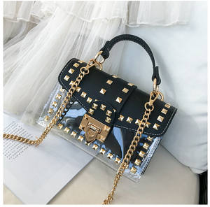 New Custom Transparent Plastic Rivet Chain Handbags with Handle Purse Fashion Crossbody Pvc Candy Jelly Bag