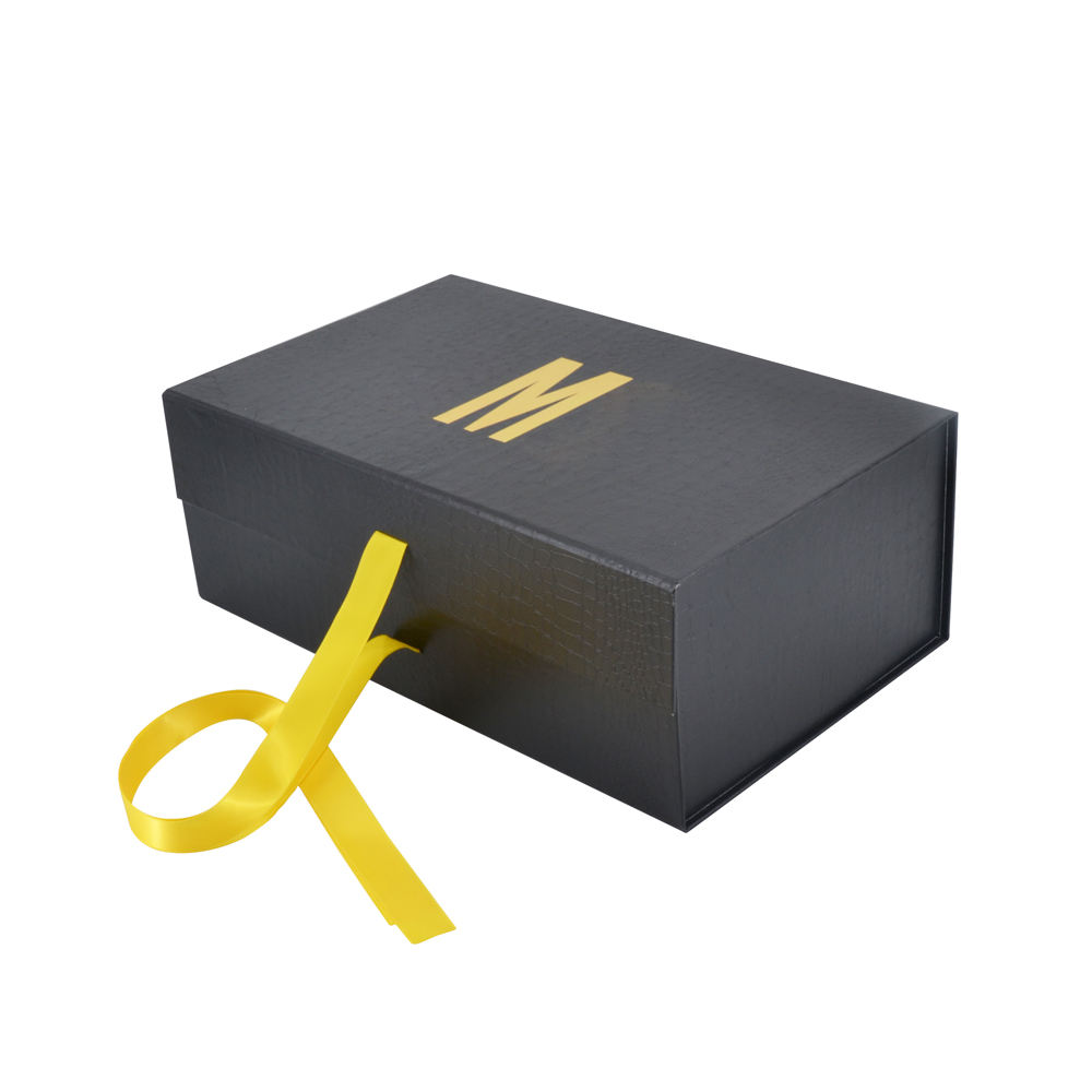 Ribbon Folding Luxury Custom Black Cardboard Carton Shoe Flap Gift Box With Magnet factory price bai wo