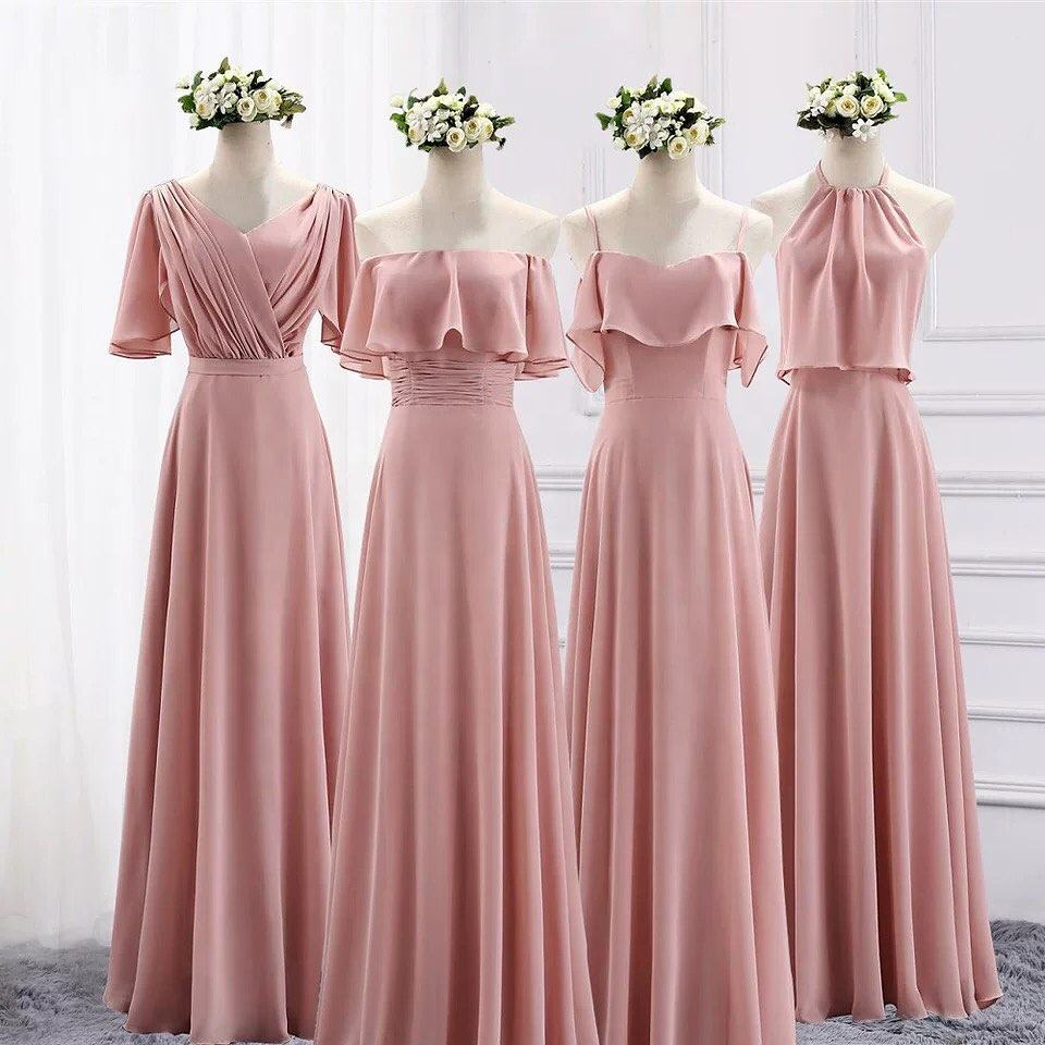 2020 New Sleeveless Pink Chiffon Bridesmaid Dresses Spaghetti Strap Bridesmaid Dress Long