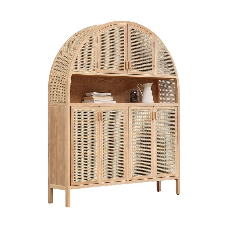 Modern Design Nordic Air Rattan Living Room Sideboard Cane Cabinet