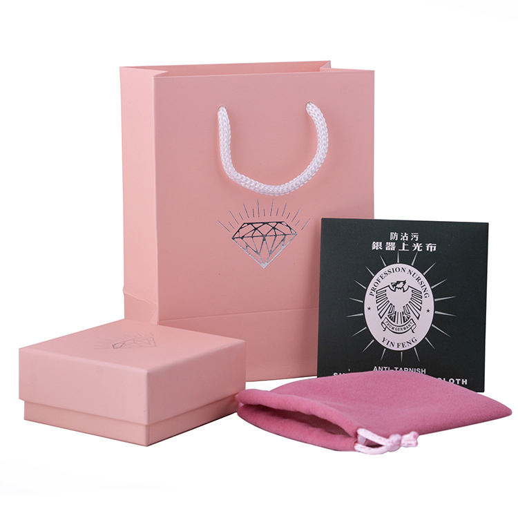 Silver Jewelry Box Pink Jewelry Tote Bag Square DurableとSponge Flannel Bag