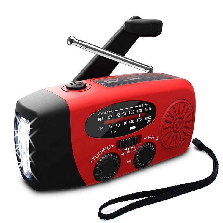 Micro USB rechargeable polymer battery powered red dynamo weather band radio panel solar emergency radio with torch