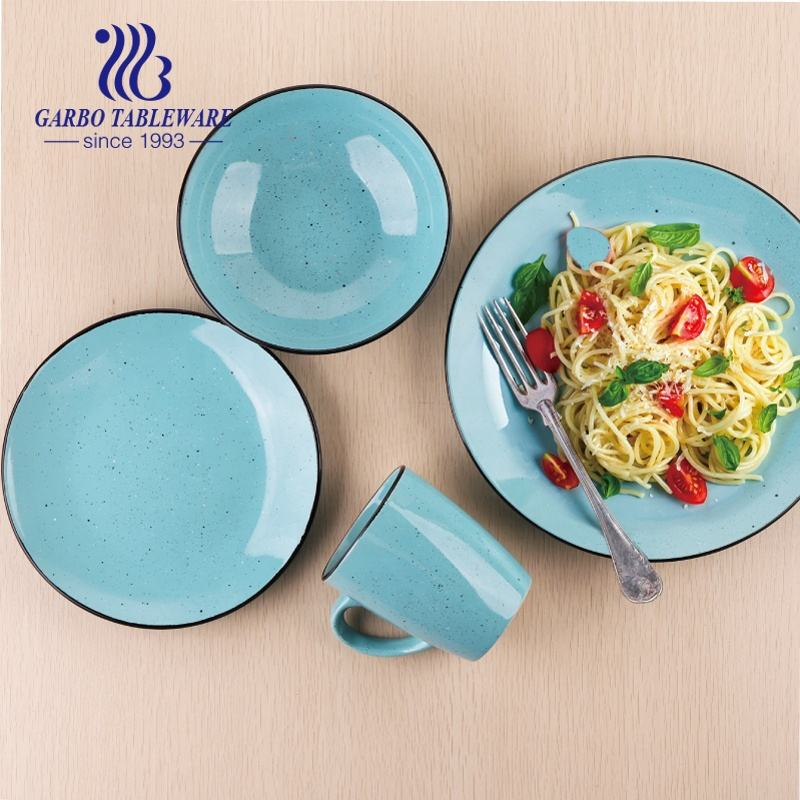 China factory cheap blue color glazed unique ceramic tableware fine stoneware dinner set 16pcs royal ceramic dinnerware sets
