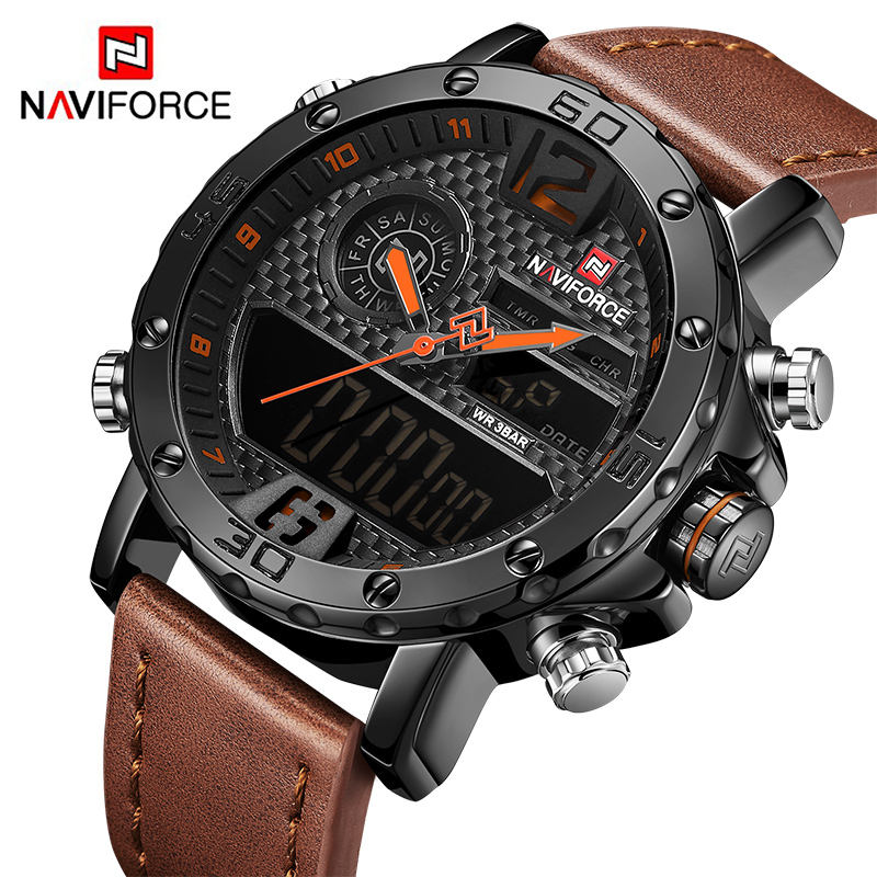 NAVIFORCE 9134 LED Digital & Quartz 5 Clasps Upscale Men Sport Watches For Sale