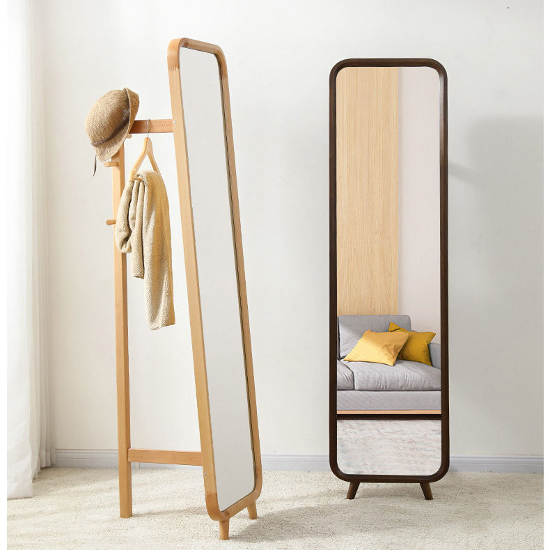 wood bath clothes rack makeup bedroom standing floor mirror
