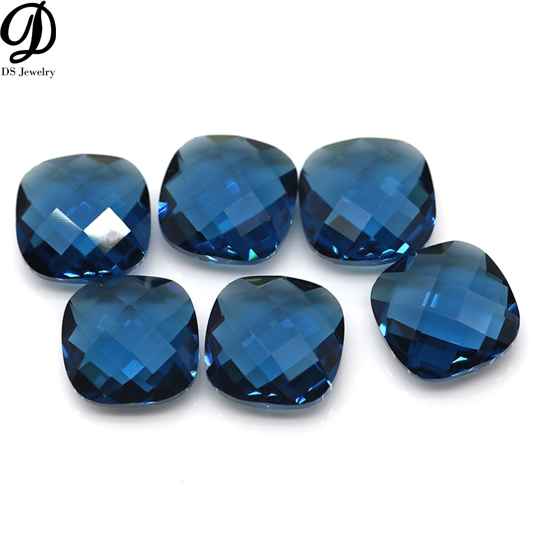 China synthetic gems double checkerboard cut glass rough glass stones for jewelry