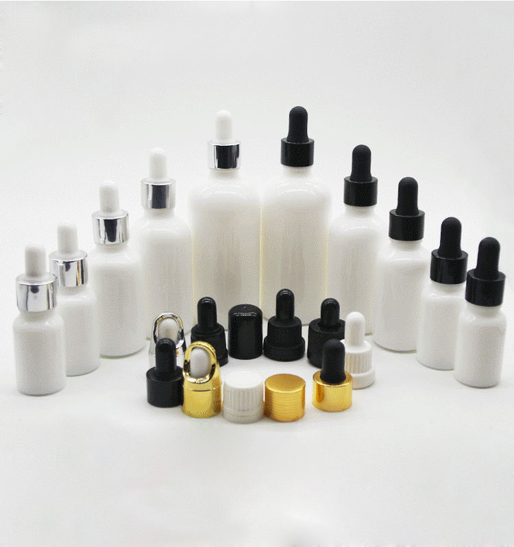 Most popular 10ml white boston round glass essential oil dropper bottle, 30ml colorful cap essential oil glass bottle