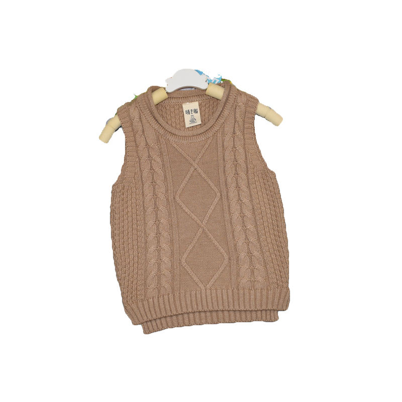 factory customizable spring children 100% cotton knitted sweater wholesale children's clothing Korean kids neutral vest