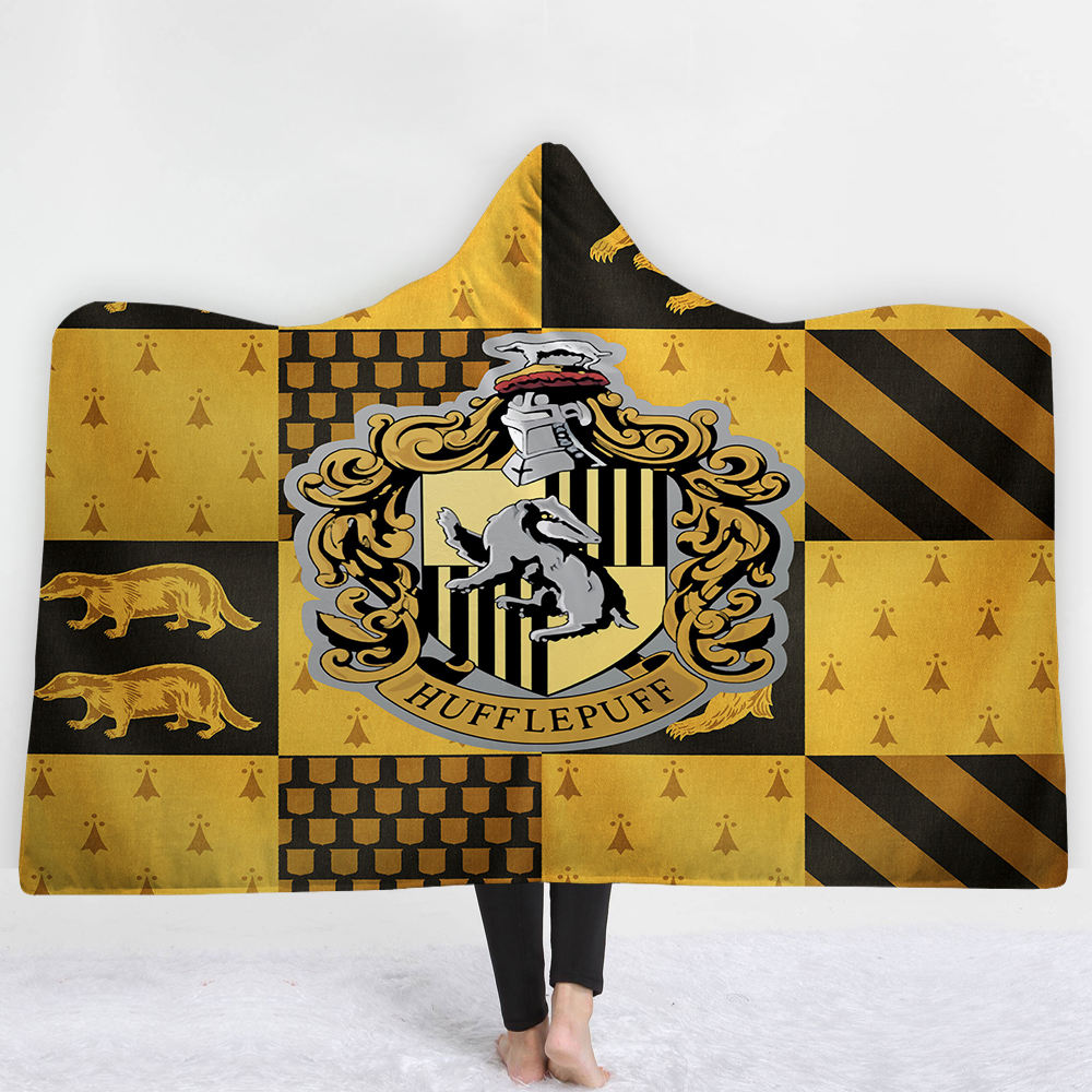 Origin China classy ancient harry potter print waterproof poncho hooded blanket